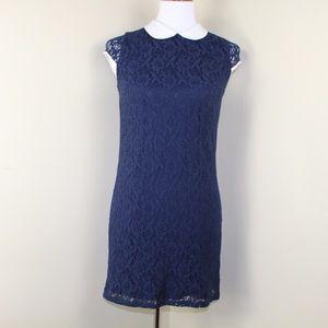 Monteau Navy Blue Lace Dress w/ Peter Pan Collar