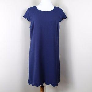 Monteau Navy Blue Scalloped Edge Dress