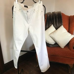 J. Crew white cotton boyfriend jeans, size 30