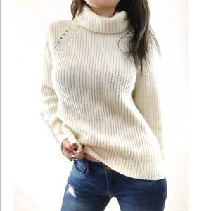 Chunky ribbed turtleneck knit sweater
