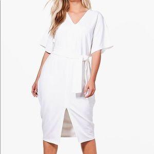 White Belted Tie Waist Midi Dress