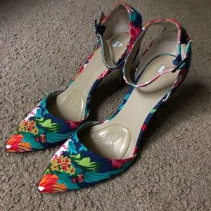 B. P. Floral Print Heels Size 11