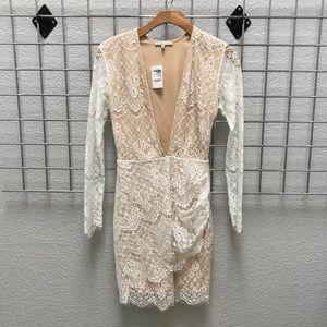 Plunge V neck Lace Dress