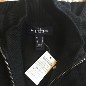 New Black The Outfitters by Lands' End Zip Sweater