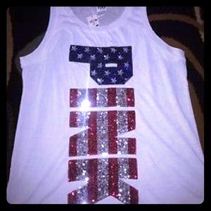 Victoria's Secret Pink Red/Silver/Blue Sequin Tank