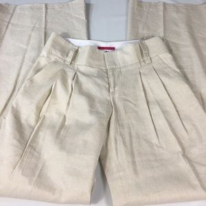Alice + Olivia Tan Gold Metallic Flare Pants Sz 6