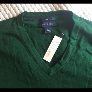 New Lands' End Emerald Green V-Neck Sweater