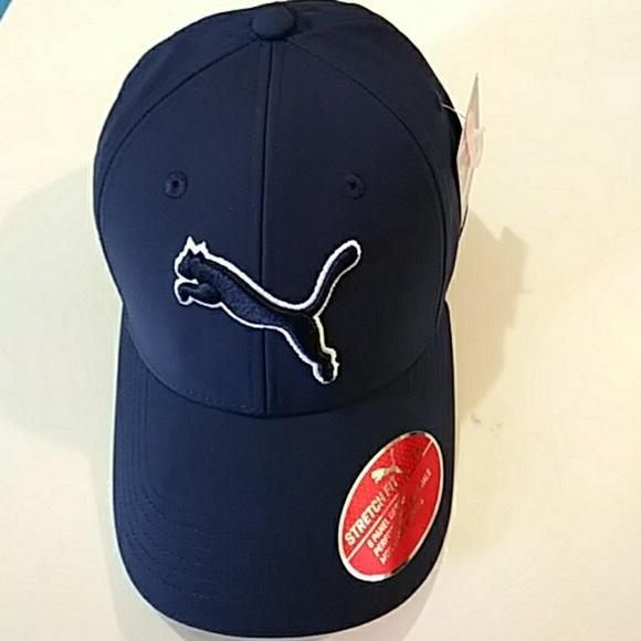 Puma stretch fit cap hat in Navy 3fc44f0cfae