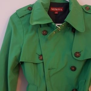Green double breasted belted jacket
