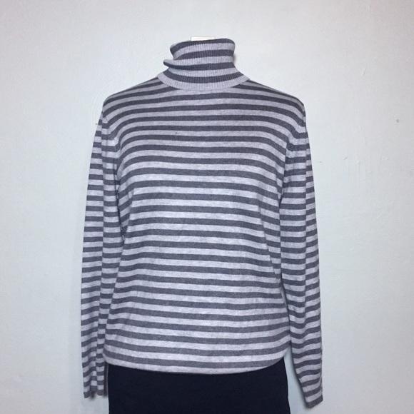 NEW! Joseph A  Gray Stripe Turtleneck Sweater