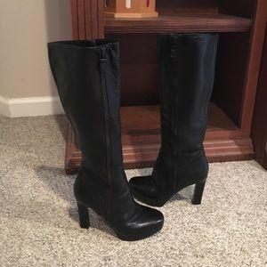 Via Spiga Black leather platform zip up Boots 5.5