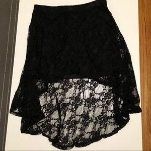 Black, lace, high/low skirt