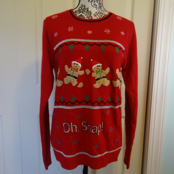 oh snap gingerbread man ugly christmas sweater s