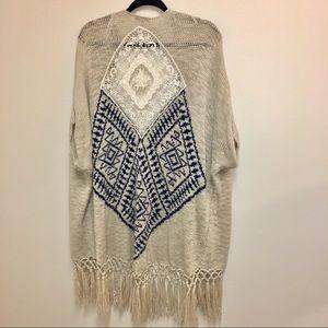 Blu Pepper Vintage Fringe Wrap Cardigan Sweater M