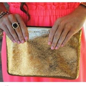 Marc Jacobs NM Gold Crackle Leather Envelope Pouch