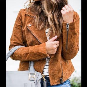 BlankNYC suede Moto jacket brown cognac color NEW!