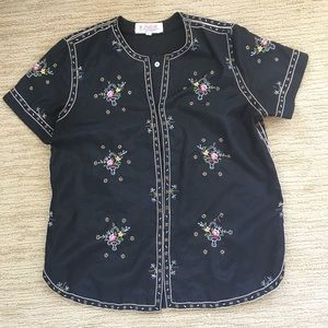 Vintage Embroidered Top by Daffodil Sz L