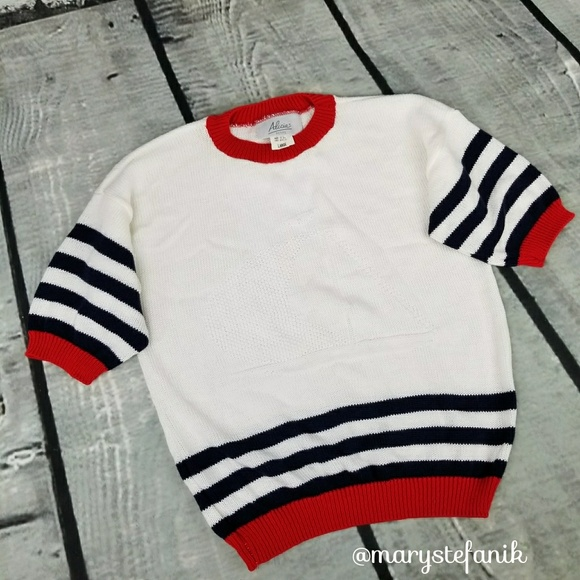 62% off Vintage Sweaters - {Vintage} Red White Blue Nautical ...