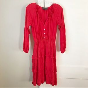 Anthro | Tiered Red Boho Peasant Long-sleeve Dress