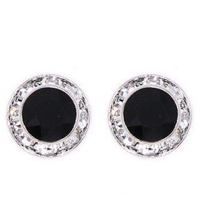 Black and silver stud earrings