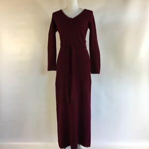 Vintage St. John Knits Maroon Long Sweater Dress