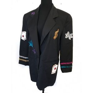 Adorable vintage 90's blazer with sequin appliqué