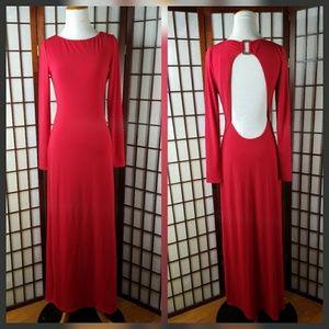 Red Hot GUESS Long Sleeve  Open Back Maxi Dress