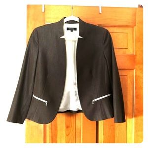 Chocolate brown blazer with white zipper detailing
