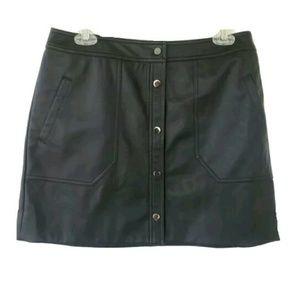 Trouve Faux Leather Mini Skirt Medium Black