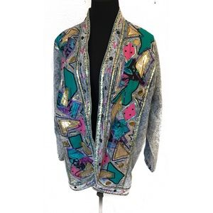 Vintage 80's acid washed puff paint jacket