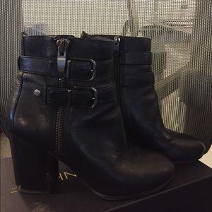 Via Spiga Black Leather Buckle Booties, Size 7