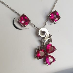 Jewelry - 2.25ct 10k white gold ruby diamond necklace