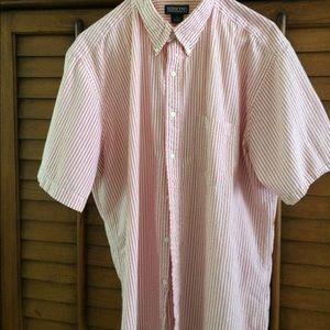 Seersucker Pink and white button down.