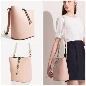Zara Blush Pink Chain Detail Bucket Boho Purse