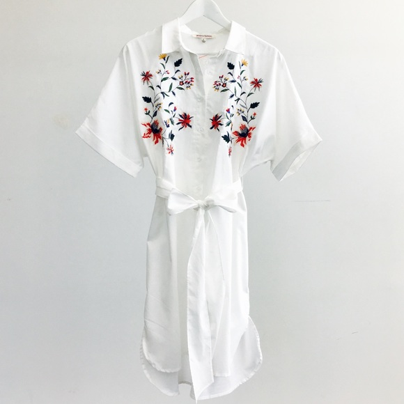 RGL Collection Dresses & Skirts - White Floral Embroidered Shirt Dress