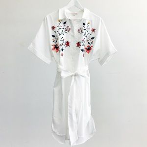 White Floral Embroidered Shirt Dress