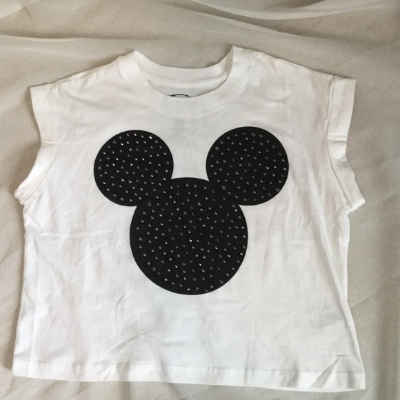 e1fc802356098f Disney Tops | Cropped Studded Mickey Mouse Tee | Poshmark