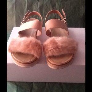 Aldo Shoes - Aldo Fur Trim Flat Sandals.