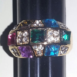 Jewelry - Goldtone Multi-Color Stone Ring Size 7