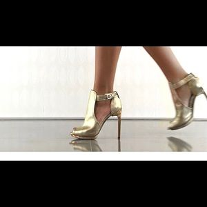 Super Cute BCBG Maxaria Gold Leather Booties