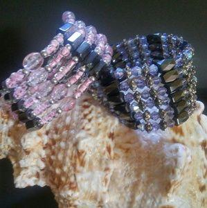 2 Vintage Magnetic Wrap Bracelets Necklaces