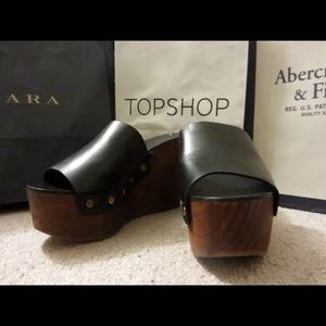 9270eb5c4ca Zara Shoes - Zara studded platform wood block heels