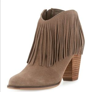 Taupe Leather Fringe Boots