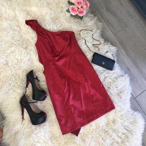 Antonio Melani Red Dress with Ruffle Detail