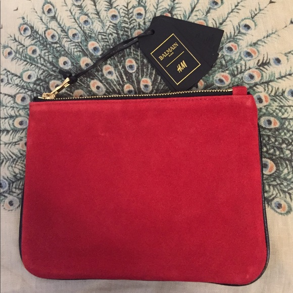 c340c8b45ed Balmain Bags   X Hm Red Suede Clutch   Poshmark