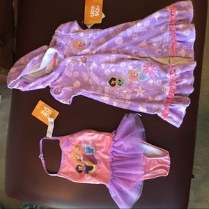 Disney princesses bathing suit and coverup size 4T