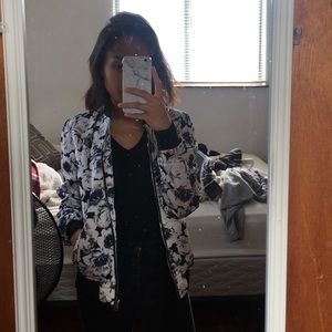 forever 21 blue and white floral bomber jacket