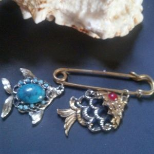 2 Vintage Fish Pendants Turquoise and Ruby Stones
