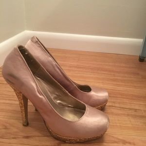 Suede and gold glitter heels