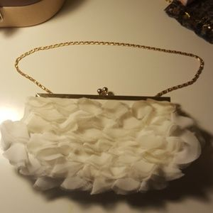 Handbags - White Chiffon Ruffle Gold Chain Clutch Hand Bag